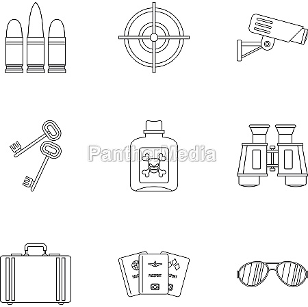 detective icons set outline style