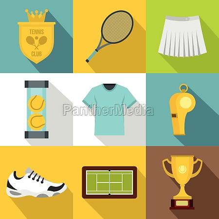tennis, icons, set, , flat, style - 30224917