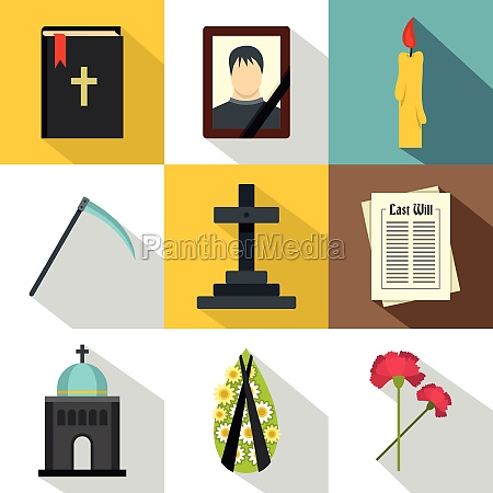 death of person icons set flat