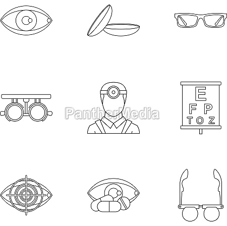 ophthalmology icons set outline style