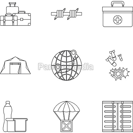 left country icons set outline style
