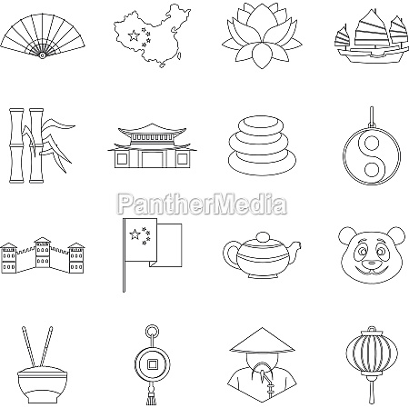 china travel symbols icons set outline
