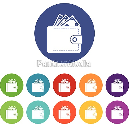 purse with money set icons