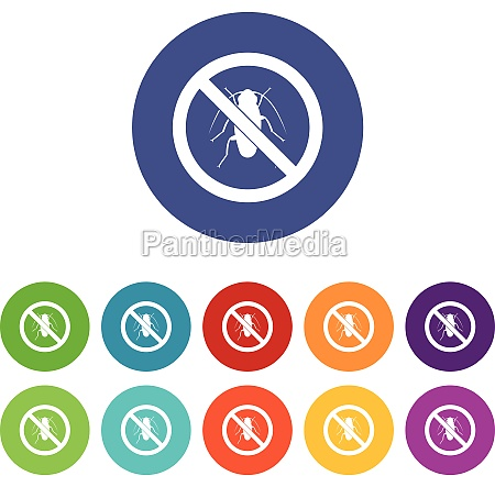 no cockroach sign set icons