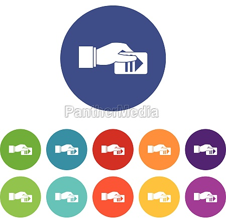 hand with parking ticket set icons