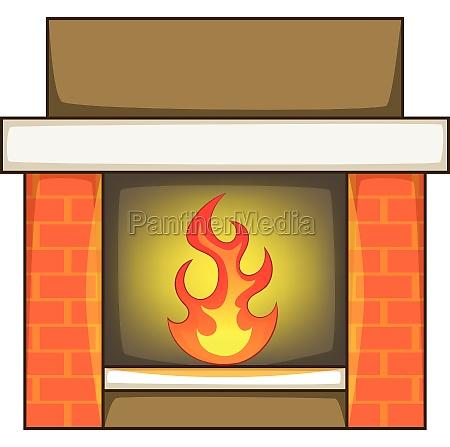 fireplace icon cartoon style