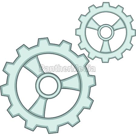 gears icon cartoon style