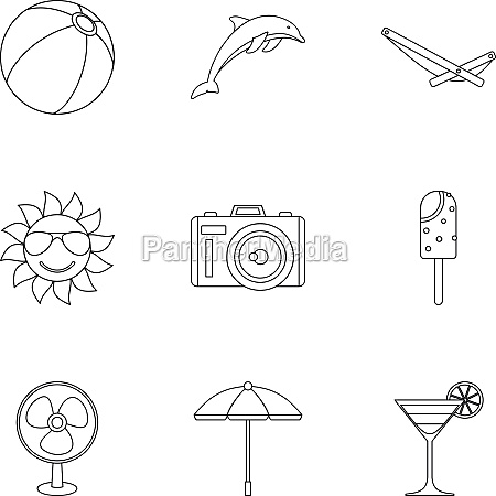 journey to sea icons set outline