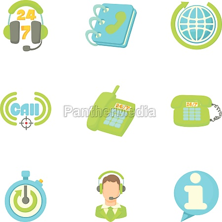 consultation icons set cartoon style