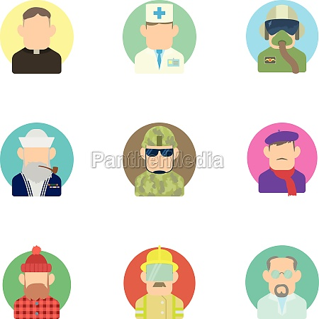 occupation icons set flat style
