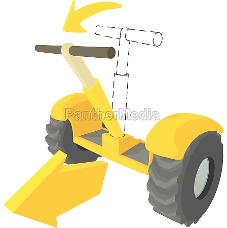 front inclined segway icon cartoon style