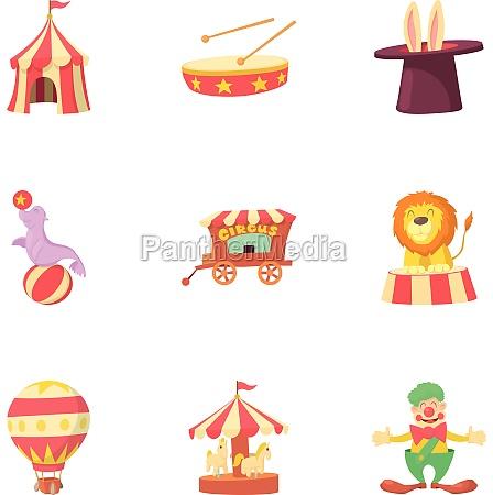 circus chapiteau icons set cartoon style