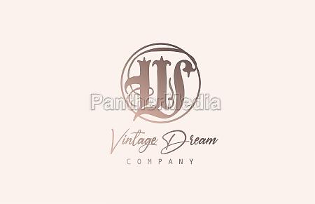 w brown pastel color alphabet logo