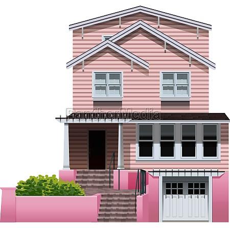 a beautiful pink house