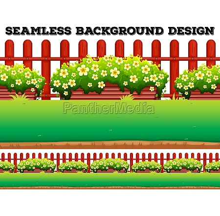 garden background with flowers and lawn