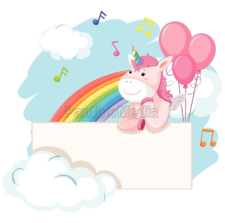 unicorn on blank banner