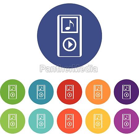 mini mp3 portable player set icons