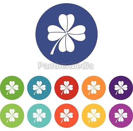 four leaf clover set icons
