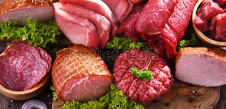 composition with assorted meat products