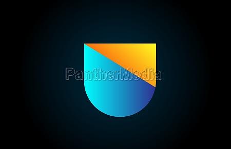 blue yellow u alphabet letter icon