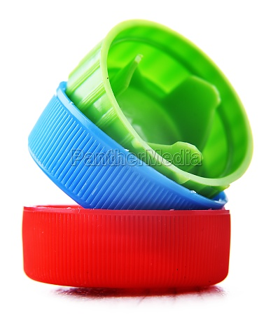 colorful plastic bottle caps isolated on