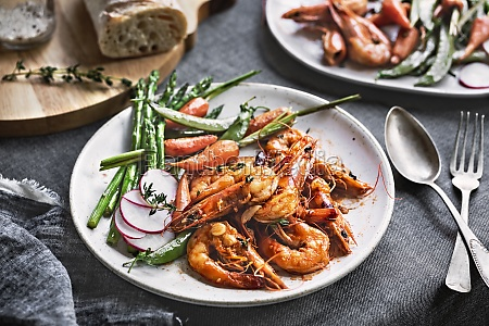 garlic and herby prawn with sauteed