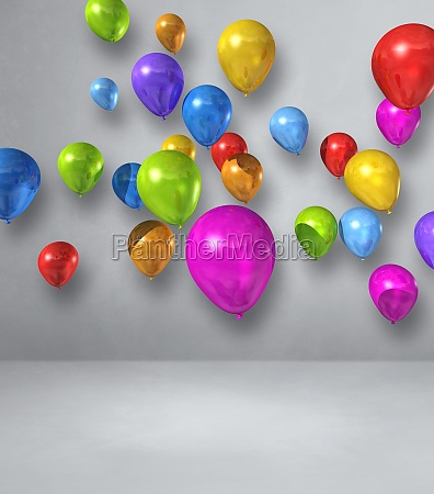 colorful balloons group on a white
