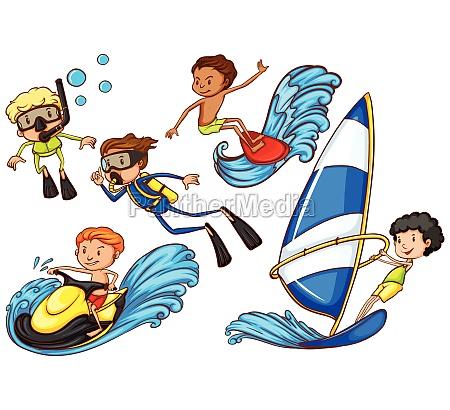 boys enjoying the watersport activities