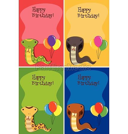 set of snake happy birthday cards
