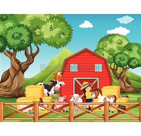 farm scene with girl and animals