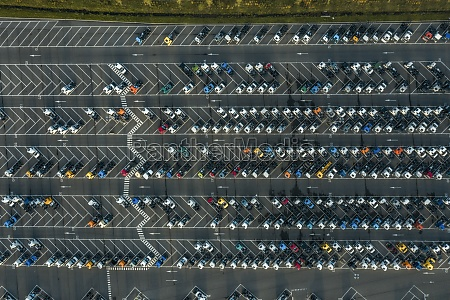 aerial view of vehicles closely parked