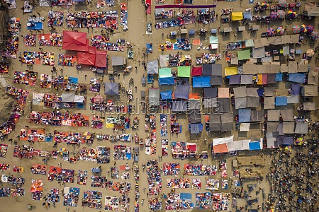 aerial view of people working and