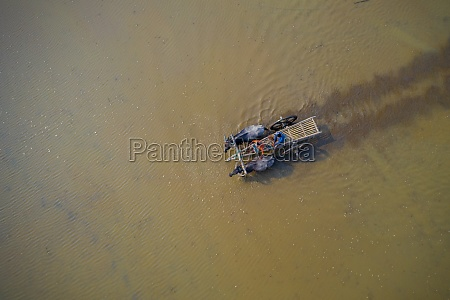 aerial view of two farmer crossing