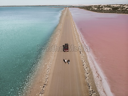 aerial view of the pink lake