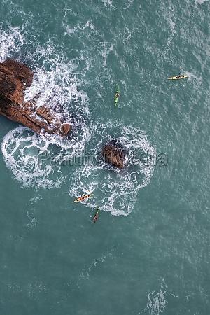 aerial view of people doing kayak