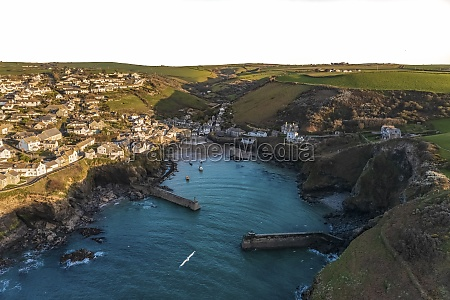 aerial view of port isaac harbour