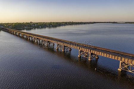 aerial view of a railroad bridge