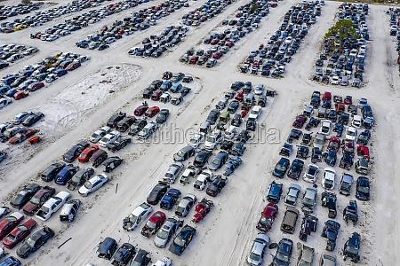 aerial view of a car junkyard