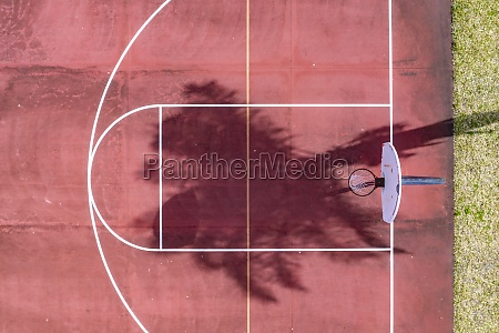 aerial view of a basketball field