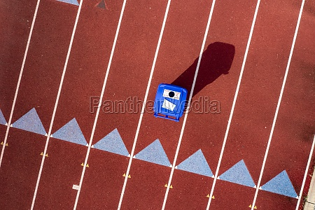aerial view of athletic track along