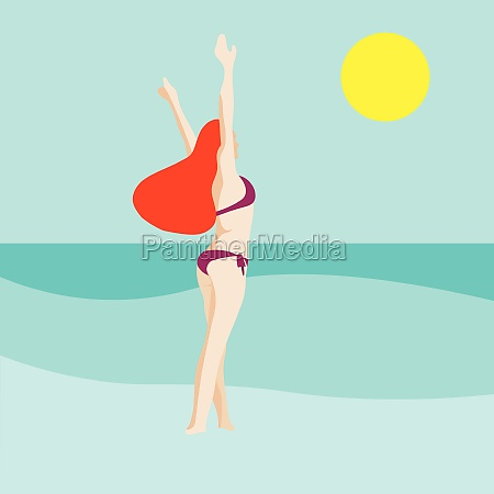 minimalist portrait of woman at beach