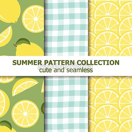 summer pattern collection lemon theme summer