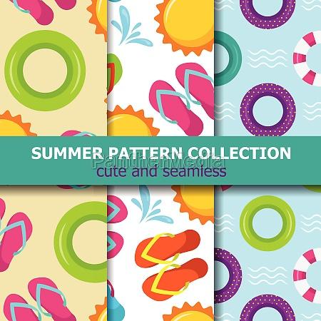 joyfull summer pattern collection beach theme