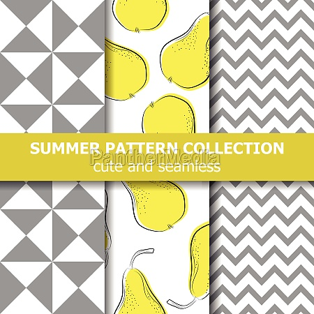 cute summer pattern collection pears theme