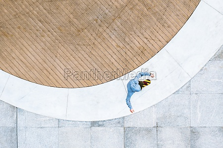 aerial top down view of skateboarder
