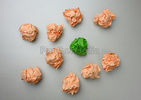 crumpled balls of paper on a