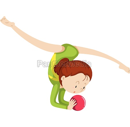 woma doing gymnastics with red ball