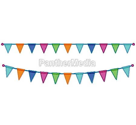 celebrate colorful party flags on white