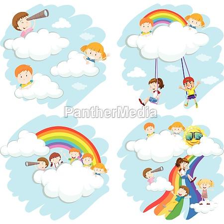 happy children playing on rainbow
