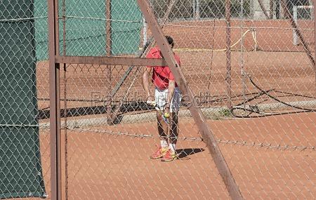 tennis game on a tennis court